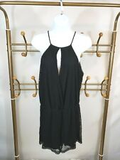 Zara Women's Sleeveless Mesh Romper Size M Black Stretch Keyhole Playsuit EUC