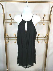Zara Women's Black Mesh Romper Size M Sleeveless Stretch Keyhole Playsuit Fun