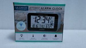 La Crosse Technology Atomic 4.76 in. x 3.12 in. Temperature and Moon Phase Black
