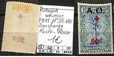 [841575] TB||*/Mh || - Ruanda-Urundi 1918 - N° 38-VAR, croix rouge, surcharge Re