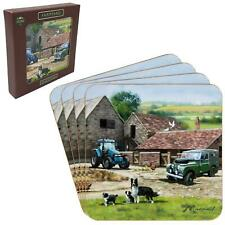 Set of 4 Farmyard Country Tractor Border Collie Dog Tea Coffee Cord Coasters