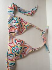 Victorias Secret Bikini Top S White W Aqua Irange Yellow Floral Dashes