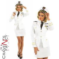 Ladies 40s Lady Navy Officer Sailor Naval Captain Costume WW2 Fancy Dress 8-26