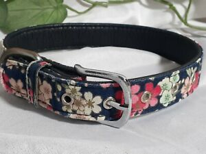 """LARGE 17""""L x 1""""W Flower Bouquet Dog Collar on Navy Flowers Floral Spring Summer"""