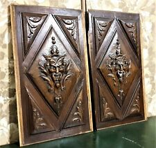 Pair devil demon wood carving panel Antique french walnut architectural salvage