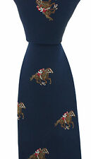 Soprano - Blue Luxury Silk Tie with Jockey on Race Horse - ascot epsom newmarket