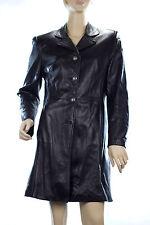 L'esprit Paris Genuine Black Leather Women's Button down Jacket Coat Sz 6 UK 10