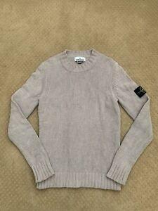Stone Island Vintage Crewneck Pullover Knit Sweater Beige Logo Badge Small