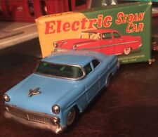 Tin Toy Car Battery Operated Japan Litho Toy Blue Electric 1950s Asahi Sedan IOB