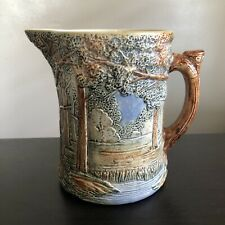 Antique WELLER POTTERY FOREST Pitcher Art Relief Finely Painted Artist Signed NR