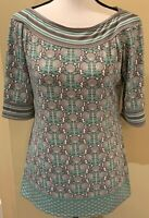 Max Studio NWT Half Sleeve Knit Top Medium Green Grey White Stripes Floral