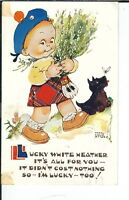 AX-199 Lucky White Heather, Artist Mable Lucie Attwell, 1907-1915 Postcard