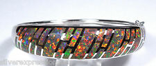 High Quality Red Fire Opal Inlay Genuine 925 Sterling Silver Bangle Bracelet