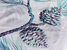 SALE! Luxe Pinecones & Sprigs Barkcloth Vintage Fabric Drape Curtain 40's Deco