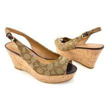 Coach Women's Size 8.5 Brown Coach Logo Print Ferry Platform Wedge Heels Sandals