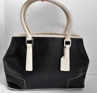 Coach 7755 Black Off White Leather Satchel Bag