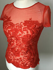 Karen Millen Red Lace Embroidered  Top Blouse Size 14
