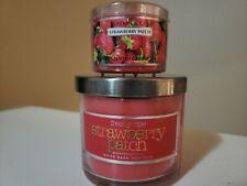 Bath and & Body Works Slatkin Strawberry Patch 4oz One Wick Candle & 1.6 oz mini