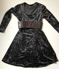 Vintage Black Velvet Skater Dress 8 10 Stretchable Gothic Punk Made In France
