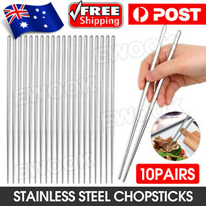 10 PAIRS Stainless Steel Chopsticks Set Authentic Korean Metal Table Cutlery
