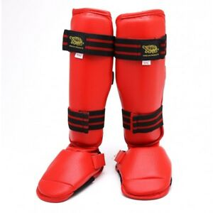 New KARATE Shin Instep Protector Taekwondo MMA Leg Foot Guard Sparring Gear-RED