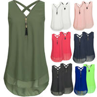 Women Summer Chiffon Sleeveless Vest T Shirt Blouse Lady Tops Clothing Plus Size