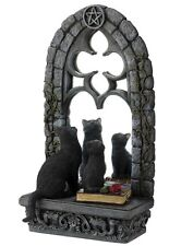 """11.5"""" Two Black Cats Staring Out The Window Mirror Stand Statue Sculpture"""
