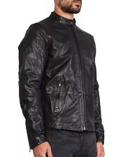 $698 New DIESEL L-THERMAL Black Leather Biker Jacket Men's Large L