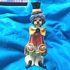 Vintage Zampiva Spaghetti Blue Hair Clown button in bow & top Hat Figurine