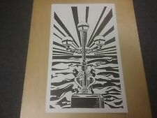 Original Ltd ed B&W linocut of Trefechan lamp Aberystwyth Sunset/Sunrise & Sea