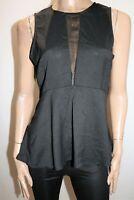 INTO Brand Black Sleeveless High Low Split Tail Peplum Top Size 12 BNWT #RA21