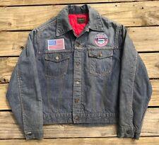 Vintage JEEP 4x4 GENUINE ROEBUCKS Rockabilly Quilt Lined Denim Jacket Men's M