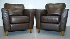 SOFA WORKSHOP CHOCOLATE LEATHER ARMCHAIRS