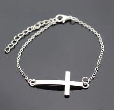 Cross Bracelet Silver Religious Christian Wedding Biker Clubwear Rock Metal Punk