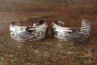 Navajo Indian Sterling Silver Stamped Hoop Earrings - Tahe