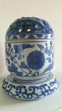 ANDREA BY SADEK BLUE/WHITE 3 PC VASE/BOWL FLOWER FROG STAND-ABSOLUTELY BEAUTIFUL