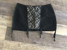 Vintage Black Women Floral Lace Panel Garter Belt 4 Strap Suspender