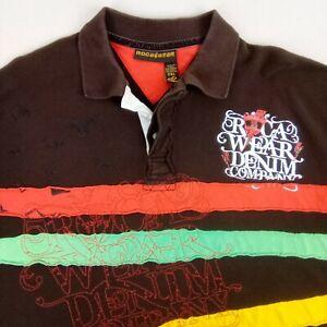 Rocawear Classic Mens Polo Shirt Brown Striped Short Sleeve Casual Shirt 2XL