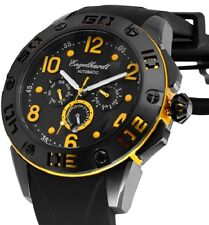 Herren Automatik Armbanduhr Schwarz/Gelb Silikonarmband von ENGELHARDT 369,- UVP