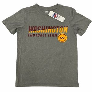 WASHINGTON Football Team NFL Youth Boys Grey Short Sleeve Tech T-Shirt Tee