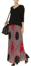 MICHAEL Michael Kors NWT Pleated Maxi Skirt Bandana Print Red Currant Size M