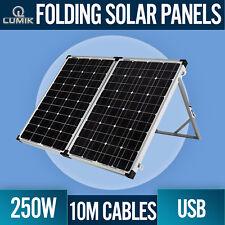 250W FOLDING SOLAR PANEL KIT 12V MONO CARAVAN BOAT CAMPING REGULATOR USB BATTERY