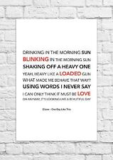 Elbow - One Day Like This - Song Lyric Art Poster - A4 Size