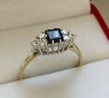 9ct Yellow Gold Cubic Zirconia & Sapphire Cluster Ring Size R Hallmarked NEW
