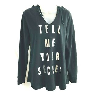 Victorias Secret Womens Tell Me Your Secret Hoodie Sweatshirt Top Medium Black