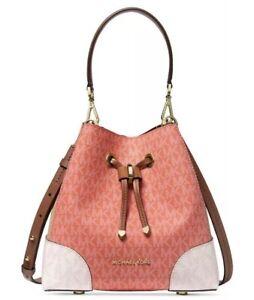 ❤️Michael Kors Mercer Gallery Small Convertible Bucket Pink Grapefruit/Gold Bag