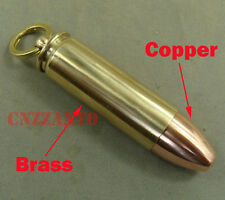 Bullet shaped Brass + Copper oil cigarette lighter keychain necklace pendant