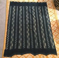 "Vintage Mali Indigo Dyed Fabric/Hand Woven Cotton Cloth 63"" x44"" 1/2"