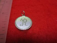 14KT WHITE GOLD EP LETTER R ROUND INITIAL DISC CHARM