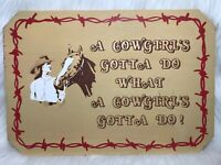 New Vintage Western Cowgirl Rancher Hand Painted Wood Sign Cow Girl Wall Deco